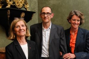 Mme Pascale Cossart, Permanent Secretary of the Academy of Sciences, Prof. Philippe Fossati, 2016 laureate, Mrs Maria Halphen.